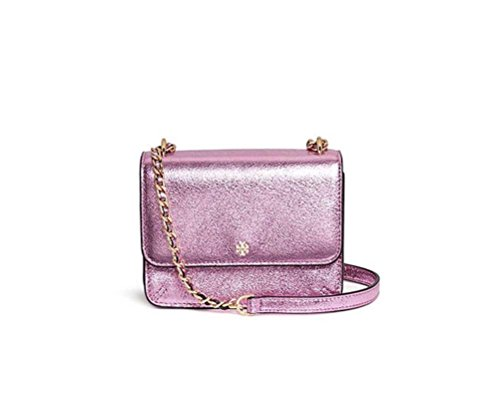 (Tory Burch Robinson Mini Metallic Pink Crackle Leather Shoulder Bag)