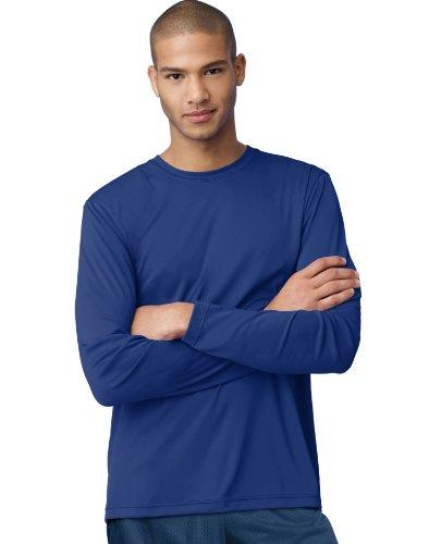 Hanes Cool DRI'Performance mens Long-Sleeve T-Shirt,Deep Royal,Large