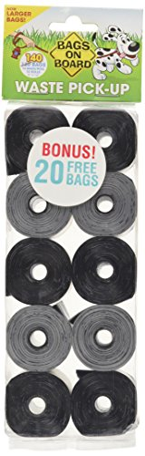 Bags on Board Durable Dog Poop Pickup Bags, 9 x 14 inches, Multiple Colors Available (Bags Black Pet)