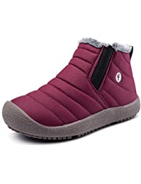 0d03c7d0179f47 Boys Girls Snow Boots Waterproof Slip On Fur Lined Sneakers Winter Warm  Shoes