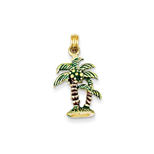 14k Yellow Gold Enameled Palm Trees Pendant