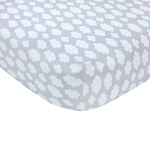 Carters Fitted Crib Sheet - Carter's Grey Cloud Print Cotton Sateen Crib Sheet - 52