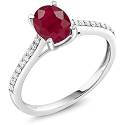 10K White Gold Diamond Accent Engagement Ring Oval Red Ruby 1.70 ct