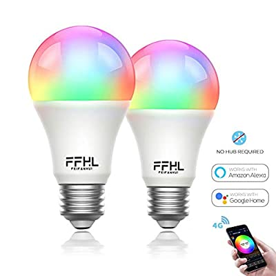 FFHL WiFi LED Smart Light Bulb Compatible with Alexa,Google Assistant (No Hub Required) E26 E27 B22 Type,RGB Dimmable Color Bulbs for Bedroom,2 Pack