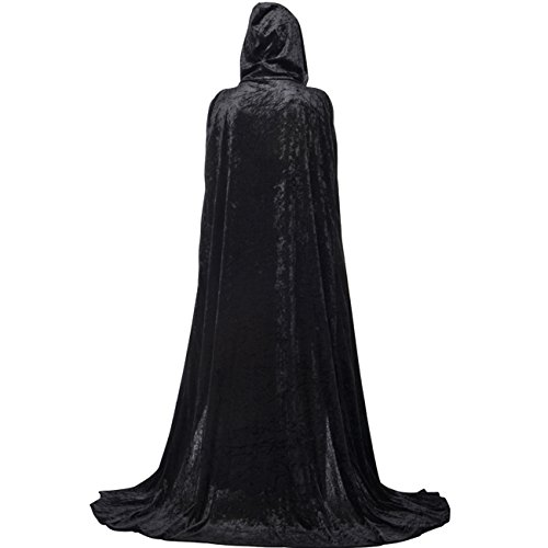Gameyly Unisex Death Hooded Cape Halloween Velevt Full Length Cloak Cosplay Costumes Black