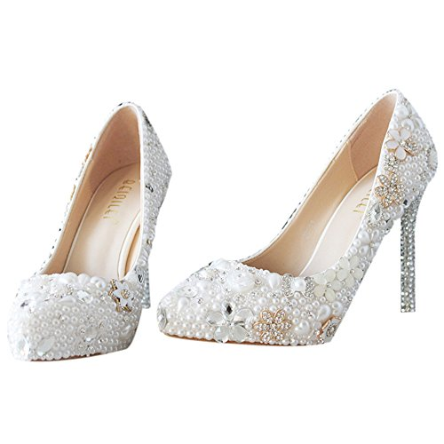 SIJANE Wedding shoes party shoes Lace and pearl shoes 07