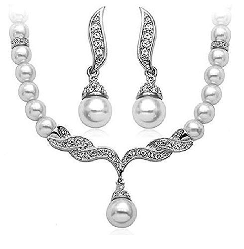 Pearls Bridal Bridesmaid Prom Tiara Crystal Rhinestone Jewelry Set Wedding Veil J3 (White)
