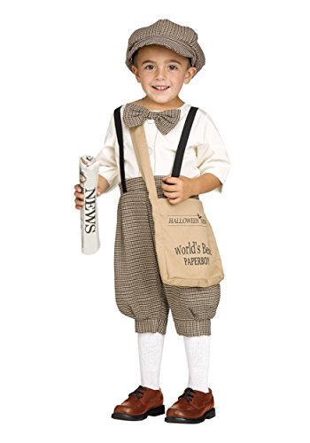 Fun World Boys Toddler Lil' Newsie Costume, Multi, (Newsboy Costume)