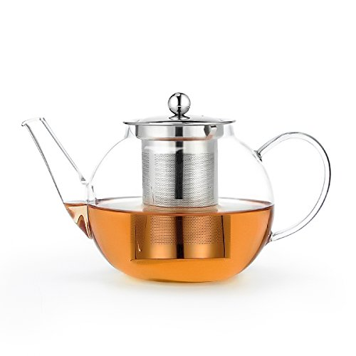 Sweese Teapot Borosilicate Glass Tea Pot With Stainless Steel Infuser - 34 Ounce / 1000ml