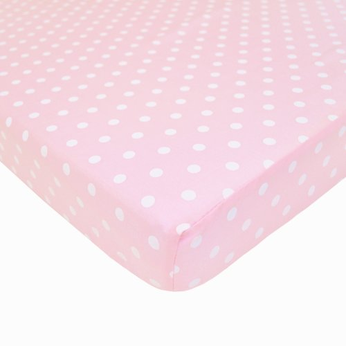 American Baby Company 100% Cotton Percale Fitted Portable/Mini Crib Sheet, Pink Dots