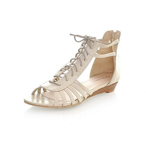 Amoonyfashion Kvinna Fast Pu Låga Häl Öppen Tå Zipper Kilar-sandaler Beige