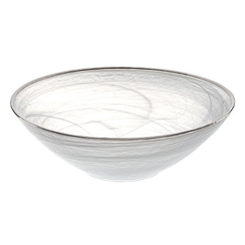 Alabaster Bowl (Badash - White Alabaster Glass 12 Inch Bowl with Silver Trim)