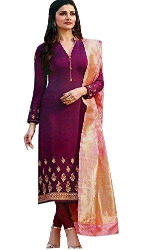 - Laxminarayan Purple Georgette Satin Embroidered Churidar Straight Salwar Suit with Pure Banarasi Silk Dupatta (X-Small)