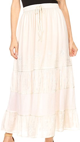 (Sakkas 80134 - Tania Long Bohemian Embroidered Maxi Skirt with Adjustable Waist - Ivory - OS)