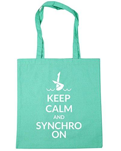 HippoWarehouse Keep calm and synchro auf Tote Einkauf Fitnessstudio Strandtasche 42cm x38cm, 10 liter - Mintgrün, One size