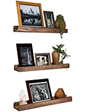 Emfogo Wall Shelves with Ledge Wood Picture Shelf Rustic Floating Shelves Set of 3 for Storage and Display 16.9 inch Carbonized Black