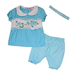 Sweet & Soft Baby Girls' Gingham Caterpillar Tee, Shorts, and Headband 3 Piece Set (6-12 Months, Blue)