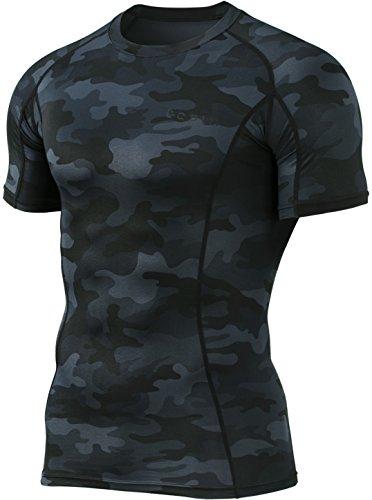 (TSLA Mens Cool Dry Compression Baselayer Short Sleeve T-Shirt, Athletic(mub23) - Camo Black,)