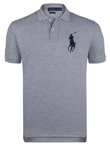 Polo Ralph Lauren Herren Polo-Shirt Baumwolle T-Shirt Unifarben mit Motiv, Größe: L, Farbe: Grau