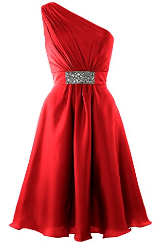MACloth Elegant One Shoulder Cocktail Dress Short Wedding Party Formal Gown Rojo