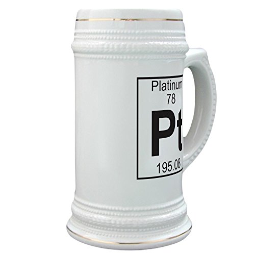 CafePress - Element 78 - Pt (Platinum) - Full - Beer Stein, 22 oz. Ceramic Beer Mug with Gold Trim