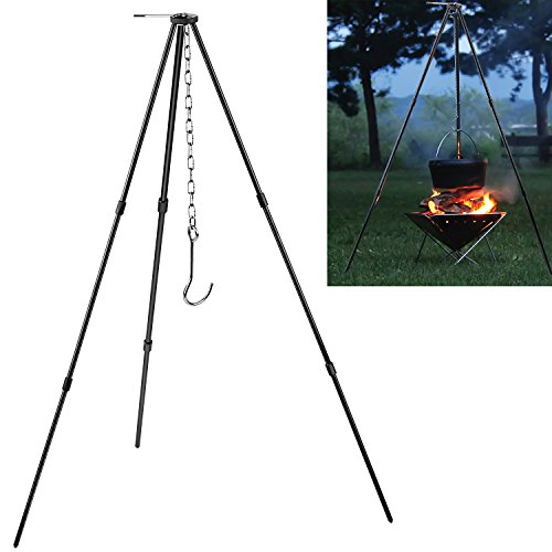 BlueStraw Camping Tripod Campfire Cooking Dutch Oven Tripod Adjustable Foldable Hanging Pot Campfire Grill Stand and Lantern Hanger with Storage Bag