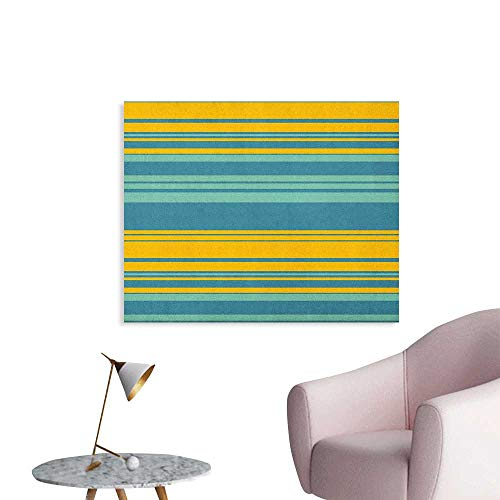 (Anzhutwelve Yellow and Blue Wall Paper Horizontal Abstract Color Stripes Lines Simplistic Modern Art Print Wall Poster Teal Turquoise W36 xL24)