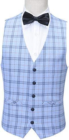 Mens Plaid Sky Blue Slim Fit Suit Blazer Jacket Vest Pants 3-Pieces Christmas Party Dress