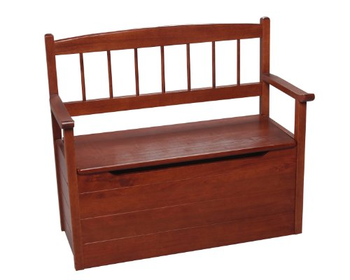 Gift Mark Cherry Deacon Style Toy Box with Spindle Back and Arm Rests, Cherry