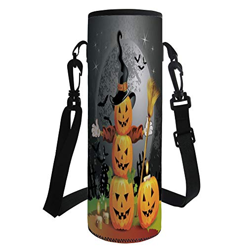 iPrint Water Bottle Sleeve Neoprene Bottle Cover,Halloween,Cute Pumpkins Funny Composition Traditional Celebration Witches Hat Broomstick,Multicolor,Fit for Most of Water Bottles