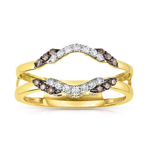 NATALIA DRAKE 14KT Yellow Gold 1/4cttw Genuine Diamond Bridal Ring Guard (SZ 7) ()