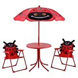 Set of 3 Red Beetle Ladybugs Pattern Kid Chair+Table+Umbrella Patio Garden Backyard Front yard Children Furniture Utility Kid room Foldable Easy Storage Light Weight Trip Party Event Picnic Home