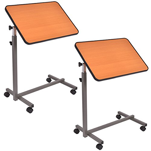 Goplus 2PC Overbed Rolling Table Over Bed Laptop Food Tray Hospital Desk W/Tilting Top by Goplus (Image #6)