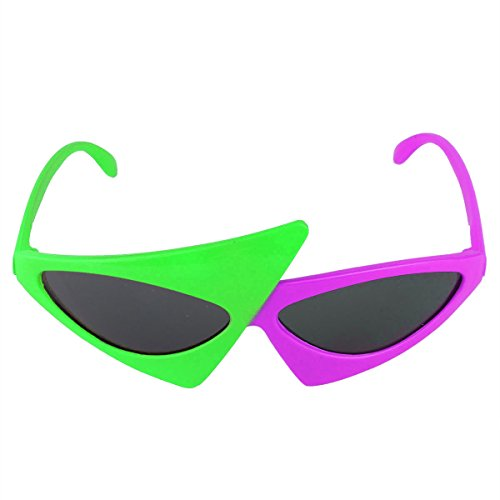 YiZYiF 80's Asymmetric Glasses Novelty Funny 2-Color Neon Green and Purple Triangle Glasses Fashion Halloween Costume Accessories Party -