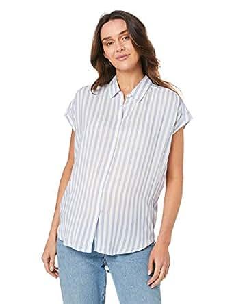 Ripe Maternity Women's Quinn Relaxed Shirt, Blue/White, S