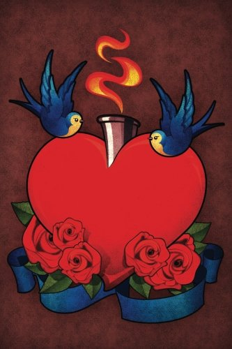 Tweet-Hearts and Roses Notebook: Blank Journal Diary Memoir Log Logue (Tattoo You 150 Lined) (Volume (Rose Heart Tattoo Designs)