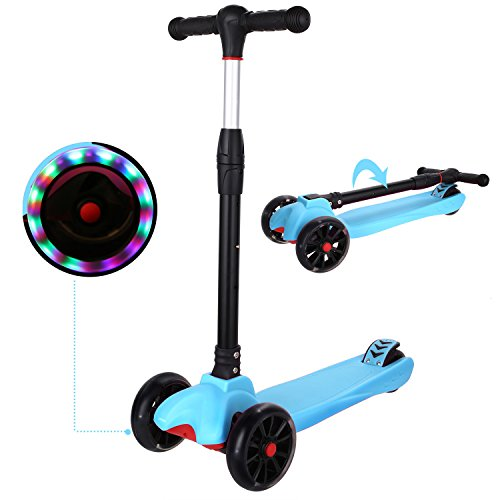 Yuebo 2018 New Kick Scooter for Kids Adjustable Height Foldable Kids Scooter with LED Light Flashing Wheels Ride On 4 PU Bearing Wheel Scooter for Child Girl Boy