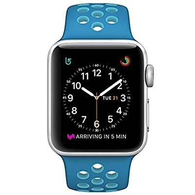 OULUOQI for Apple Watch Band 38mm, Soft Silicone Replacement Band for Apple Watch Series 3, Series 2, Series 1, Sport , Edition, M/L Size ( Blue/Gamma Blue)