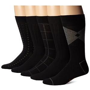 Dockers Men's 5 Pack Classics Dress Dashed Crew Socks, Black, Sock Size:10-13/Shoe Size: 6-12