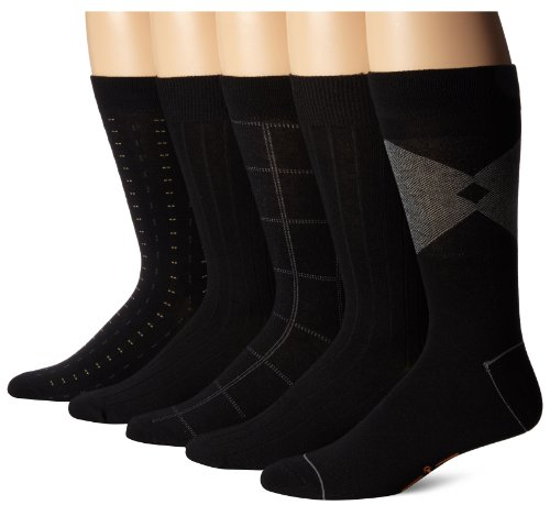 Dockers Men's 5 Pack Classics Dress Dashed Crew Socks, Black, Sock Size:10-13/Shoe Size: 6-12 by Dockers
