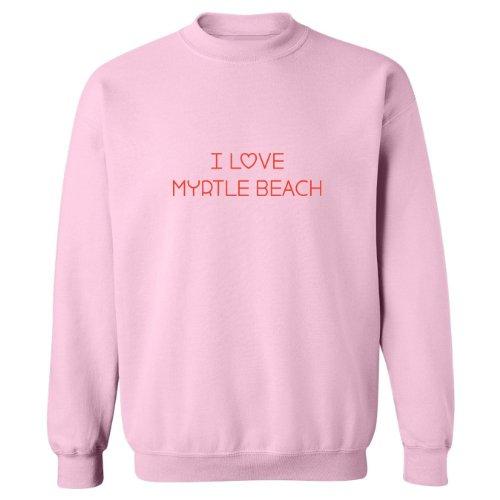 (Mashed Clothing I Love Myrtle Beach Adult Sweatshirt (Pink,)