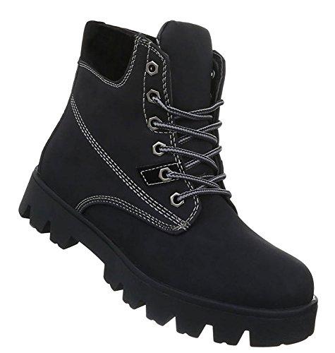 Damen Schuhe Stiefeletten Schnür Boots Modell Nr.5 Schwarz