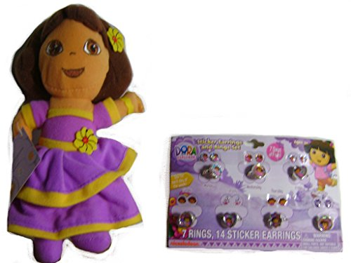 Girls Dora the Explorer Plush Doll and Sticker Earrings and Rings Set