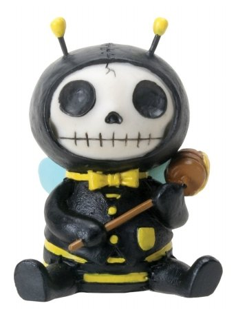 Furrybones Sitting Buzz Skull Face in Bee Costume with Hood and Honey ()