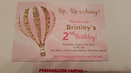 Hot air balloon invitations in pink and gold set of 12]()