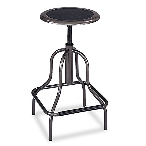 (Safco 6665 Diesel Series Backless Industrial Stool High Base Pewter Leather)