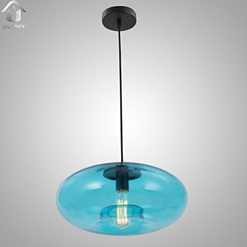 UNITARY BRAND Blue Vintage Murano Glass Shade Hanging Cei...