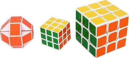 Glowbird 3 in 1 Cube Set with 3X3 Magic Rubik 3X3 Big, Mini and Snake Cubes Puzzle Game