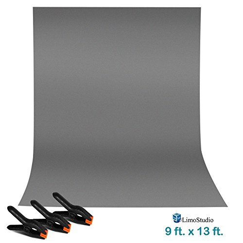 LimoStudio 9 ft. x 13 ft. Gray Professional Photography Studio Muslin Backdrop Background with 3 Heavy Duty Clip Clamp for Background Muslin, Canvas, Paper, Chromakey Screen, AGG2331 (13 Backdrop)