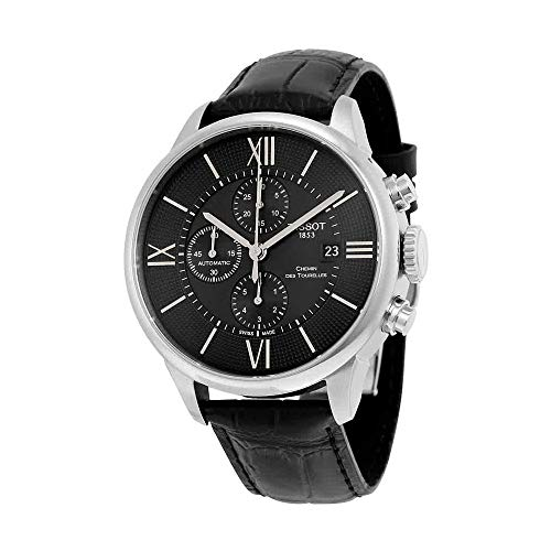 Tissot Men's T-Classic Stainless Steel Swiss-Automatic Watch with Leather Strap, Black, 21 (Model: T0994271605800)